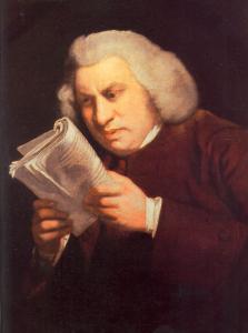 Samuel Johnson reads William Shakespeare